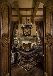 Fireplace in Multi-Million Dollar Home Designed by Fratantoni Luxury Estates - mediterranean - home office - phoenix - by Fratantoni Luxury Estates