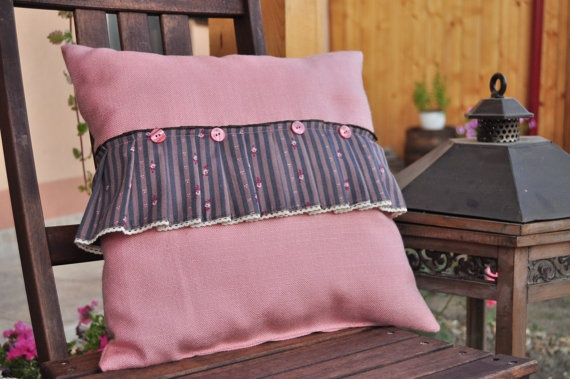 Rose dream pillow with insert  happy ruffles by AliCards on Etsy, $21.00