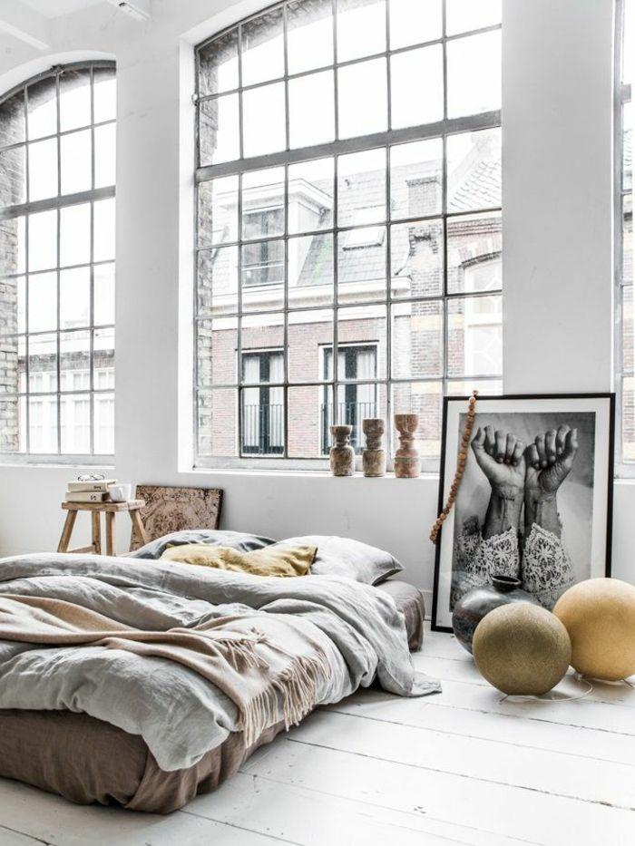 linge de lit lin, intérieur unique bohémien en gris pâle