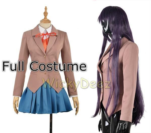 Sayori Yuri Natsuki Monika Outfit School Uniform Dress Shoes Wig Cosplay Costume
