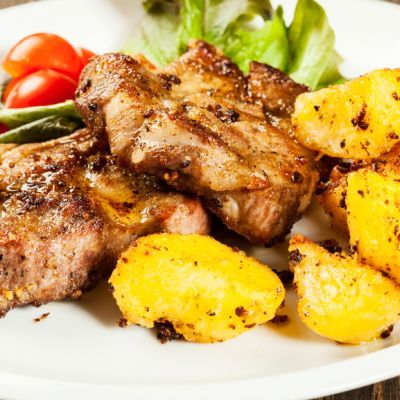 Pork Steak with Seasoned Potatoes