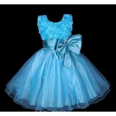 Vestido Infantil Festa/princesa Cinderela Azul Pink Flores - R$ 129,90