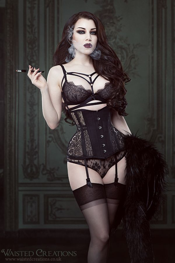 """exclusivelyselectedlingerie: """" sewvictorian: """" Threnody in Velvet in my Albertine lace corset. These are made to order using genuine antique Mantilla lace and ivory sheer corsetry mesh. They are..."""