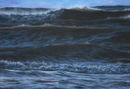 """Towering waves at Swansea"" 130cm x 190cm, acrylic on linen"