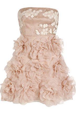 Valentino Rosette Embellished Silk Dress