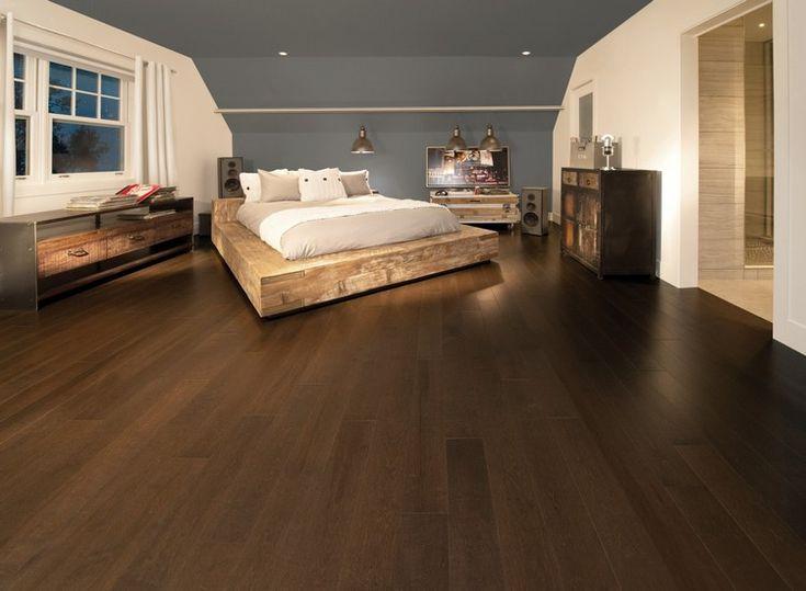 Korkboden holzoptik dunkel schlafzimmer bodenbelag cork interior floor