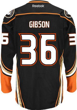 55991e213 ... Anaheim Ducks Goalie John GIBSON 36 Official Home Reebok Premier  Replica NHL Hockey Jersey ...