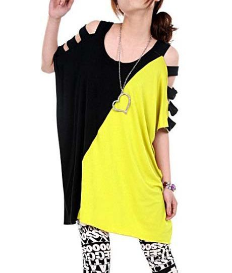 Cutout Batwing Sleeved Colorblocked Jumper