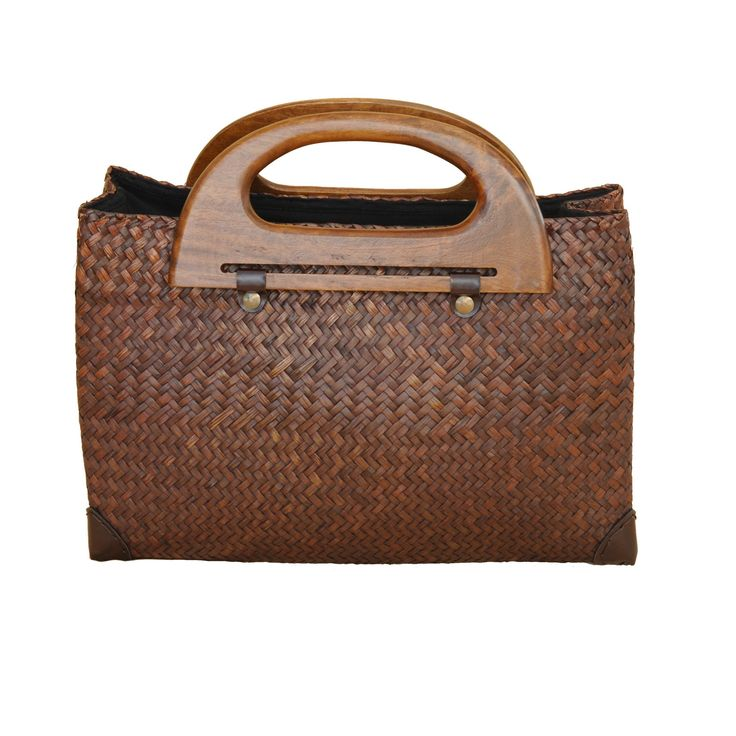 Unique Brown Sedge Handbag with Mango Wood Handle