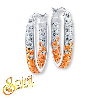 University of Tennessee Oval Hoop Earrings Sterling Silver