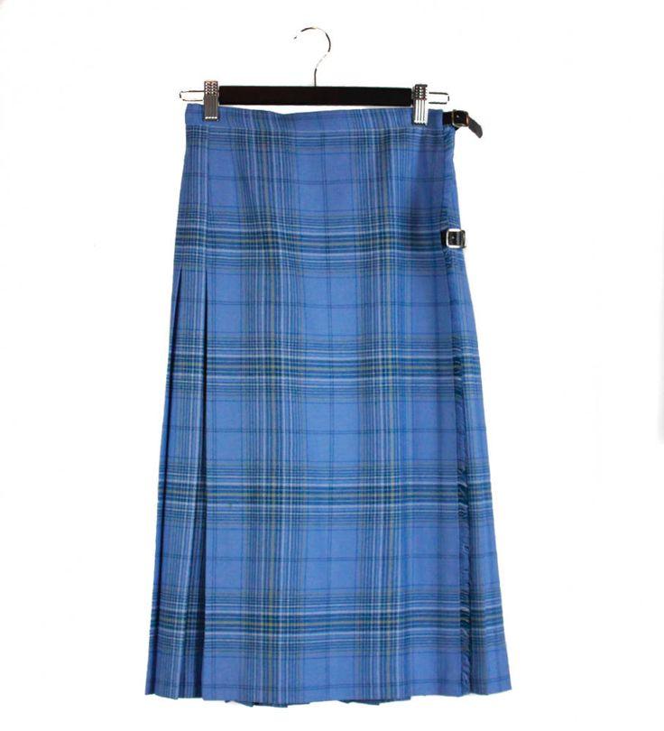 Vintage 80s, 90s, Tartan, Kilt, Blue, Skirt, 80s clothing, 90s clothing, tartan kilt, tartan fabric, 90s grunge, unisex, pleated, buckles by FannyAdamsVC on Etsy