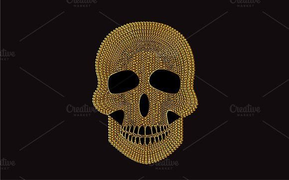 Skull icon gold with pearls vector #skull #tattoo