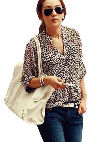 NSSTAR Sexy gasa Mujeres camiseta de leopardo ocasional de tres cuartos de manga camisa de la blusa (M)
