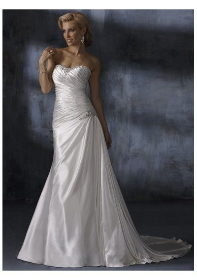Sweetheart pleated waistline bright a-line wedding dresses