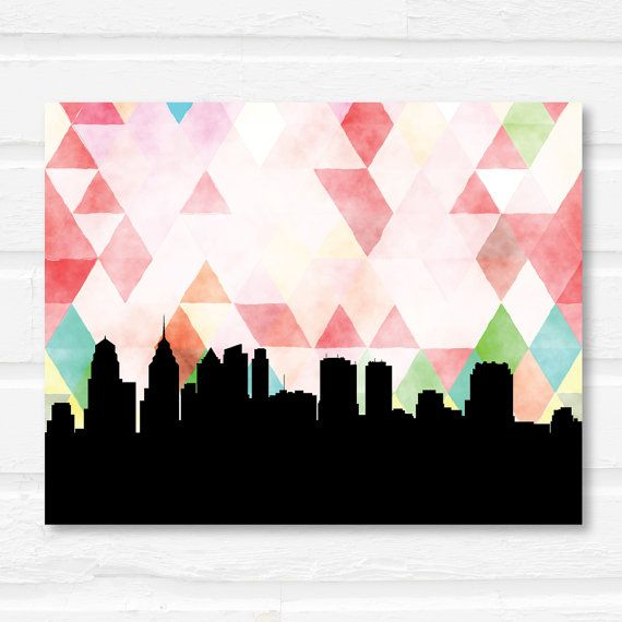 Philadelphia, Pennsylvania print featuring a trendy geometric pattern and the Philadelphia skyline   ________________________________________________________ GIMME ALL THE DETAILS:  —Print measures 5x7, 8x10, or 11x14 and has full edge-to-edge color.  —Printed on ultra premium matte paper with Epson Ultrachrome K3 archival pigment inks. (For some seriously ah-mazing colors!)  —Please choose your geometric background pattern from the drop down menu…