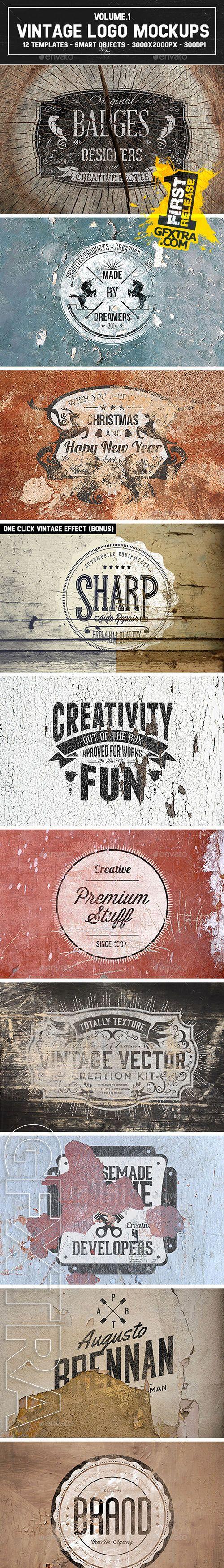 Graphicriver - 12 Vintage Logo Mockups Vol.1 9159219