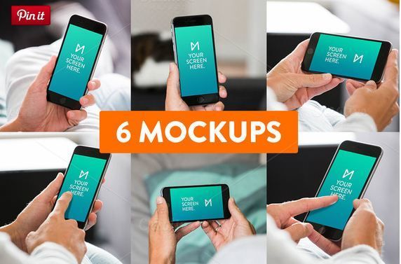 4 6-Pack iPhone 6 Mockup psd templates  http://textycafe.com/23-iphone-6-mockup-psd-templates/