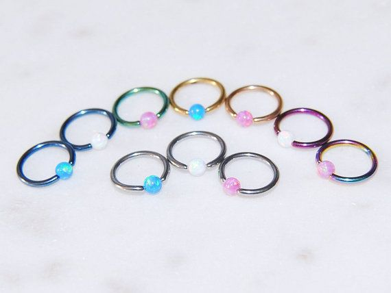 CHOOSE COLORS Opal Captive Bead Ring in Steel, Blue, Pink, Green, Rainbow, Yellow Gold, and Rose Gold, 18g 16g and 14g, Piercing Jewelry