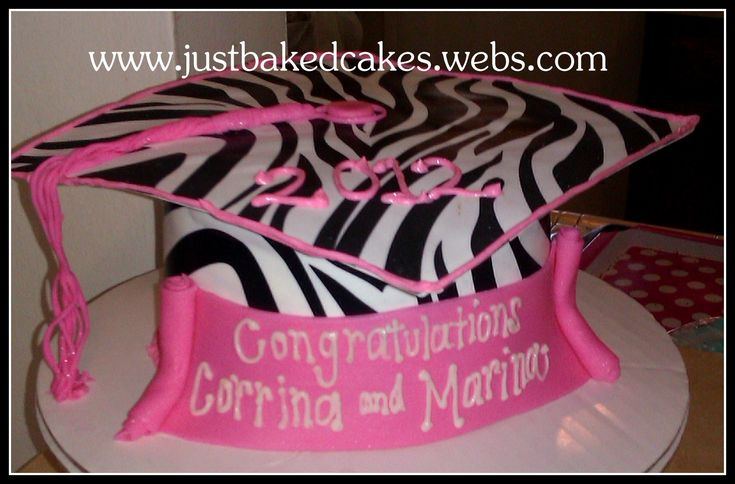graduation cakes pictures | Zebra / Pink Graduation Cap Cake - Just BAKED Cakes and Cupcakes