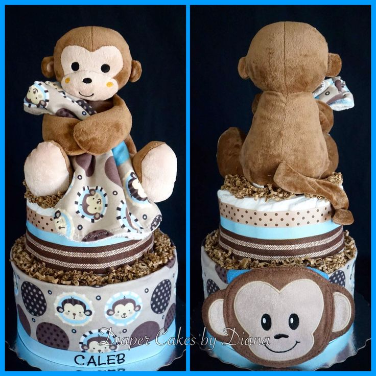 Boy's Monkey Themed Diaper Cake www.facebook.com/DiaperCakesbyDiana