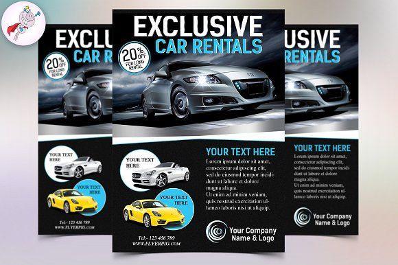 Exclusive Car Rental Flyer Template by FlyerPig on @creativemarket