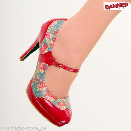 BANNED-Mary-Jane-Roses-High-Heels-Shoes-1950s-Pin-Up-Rockabilly-new