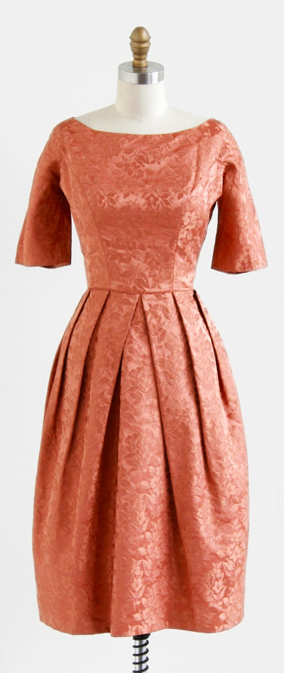 1960's Satin Damask Cocktail Dress. Love the pleats on the top of the skirt.....
