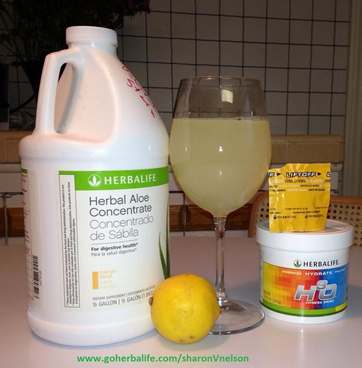 The Perfect Wake UP morning drink! Herbalife Mango aloe concentrate + water+ lemon juice+LIFT OFF Tablet+H3O. Cleanses and soothes your insides and powers your day! www.GoHerbalife.com/SharonVnelson
