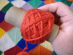 When you buy yarn in hanks, you have to roll it up into a ball. Use a toilet paper (or paper towel) tube to make your own center-pull cakes!