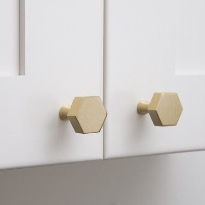 Hex Knob - Natural Brass | Cabinet Knobs An angular alternative to the round knob, this solid brass hexagonal knob is handcrafted in the USA from 95% recycled brass.