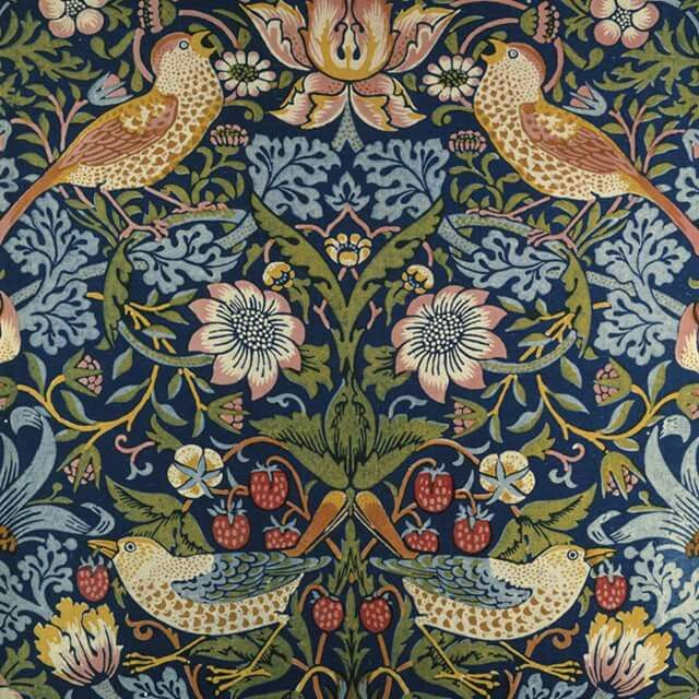 @vamuseum William #Morris famous '#Strawberry #Thief' pattern was inspired by the #thrushes which stole #fruit from the #kitchen #garden of his #countryside home. #victoriaalbertmuseum