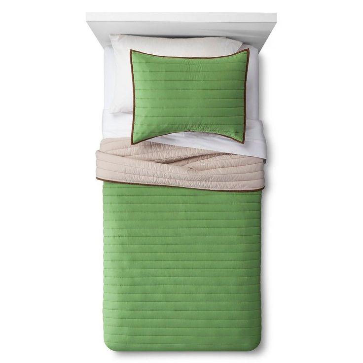 Basic Quilt Set Twin Green 2 pc - Pillowfort, Grassy Knoll