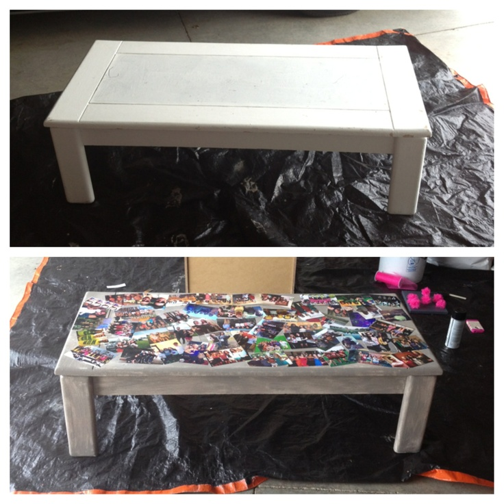 Coffee Table Picture Collage Printed Out Friend Photos