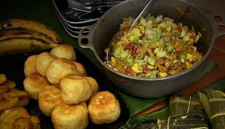Saltfish and ackee with fried dumplings - Saltfish and ackee is Jamaica's national dish and is traditionally served with these dumplings.