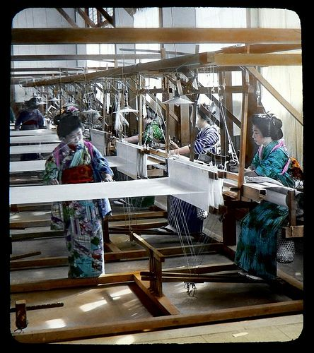 HAND WEAVING SILK AT A JAPANESE TEXTILE MILL -- Working Girls in Kimonos, Making Future Kimonos by Okinawa Soba, via Flickr. Ca.1897-1900 T. ENAMI Glass Slide from a Stereoview.