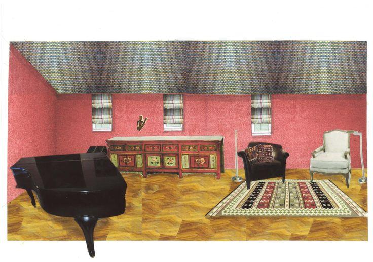 """3D sfeercollage """"Ethnic Rose"""" voor woonhuis door Ridesign: Ria Bernards. Vrij ontwerp"""