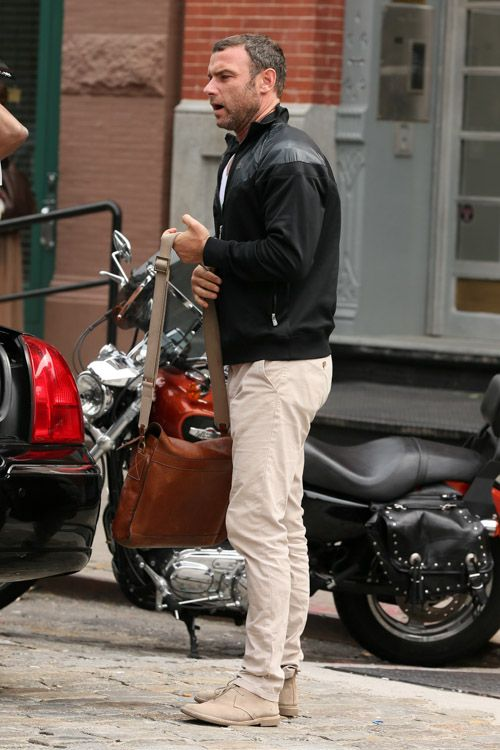 Liev Schreiber carries a Mulberry Brynmore Messenger Bag in NYC (1)