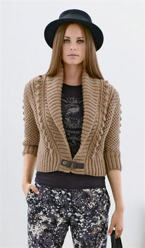 Bergere de France Cropped Shawl Collar Cardigan Pattern 336.561