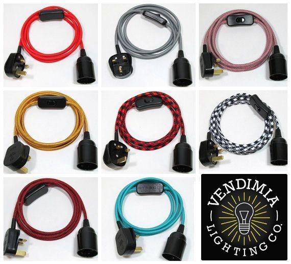 3m Tissu Flex Cable Prise En Pendentif Lampe Ensemble Es E27 Plug In Pendant Light Vintage Bulb Vintage Bulbs
