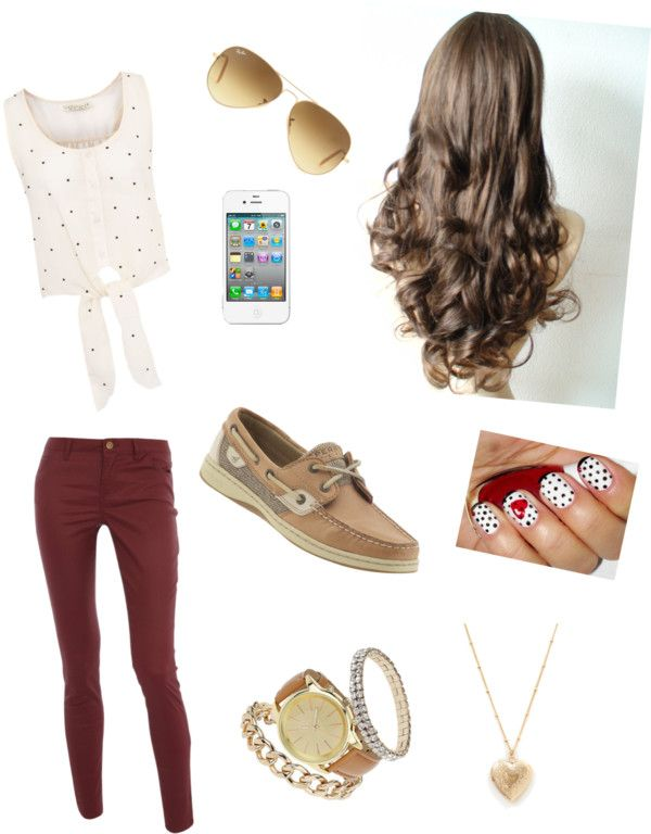 burgundy pants, white polka dot tank, sperrys and gold accessories