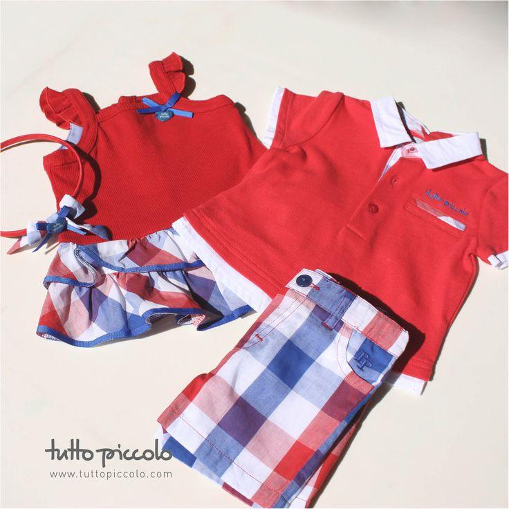 Rojo intenso, azulones y blanco sobre prendas de popelín, muselina y canalé. #tuttopiccolo - Vestido: http://goo.gl/yNn1xT; Polo: http://goo.gl/iUIHje; Bermuda: http://goo.gl/15YDJ2