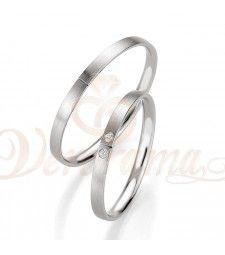 Βέρες γάμου λευκόχρυσες με διαμάντι breuning 4329-4330