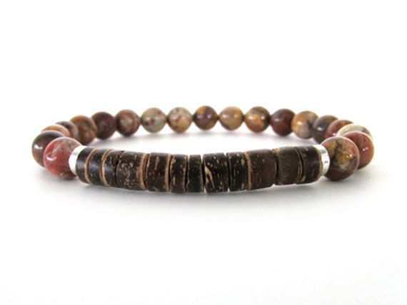 Hip and cool men's bracelet with 8mm Bird's Eye Rhyolite beads, 8mm heishi coconut shell beads and pewter accent by Rock & Hardware Jewelry.
