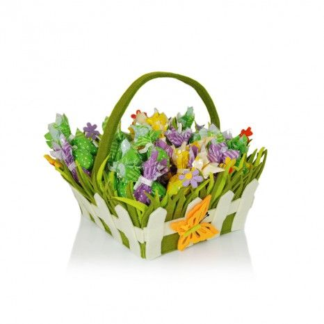 Felt Basket Blooming Meadow Decoration with Assorted Egglets 1000g