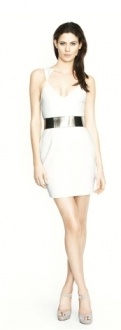 THE ONYX STONE is a fitted body-con mini dress with crystal stone shape neckline