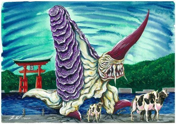 広島県の「キングギーガ」。とある牡蠣の養殖研究家が大きな牡蠣を作ろうと牛をあたえてみたところ、牛を吸い尽くした牡蠣は巨大怪獣に成長した。(C)2004 ITTSU