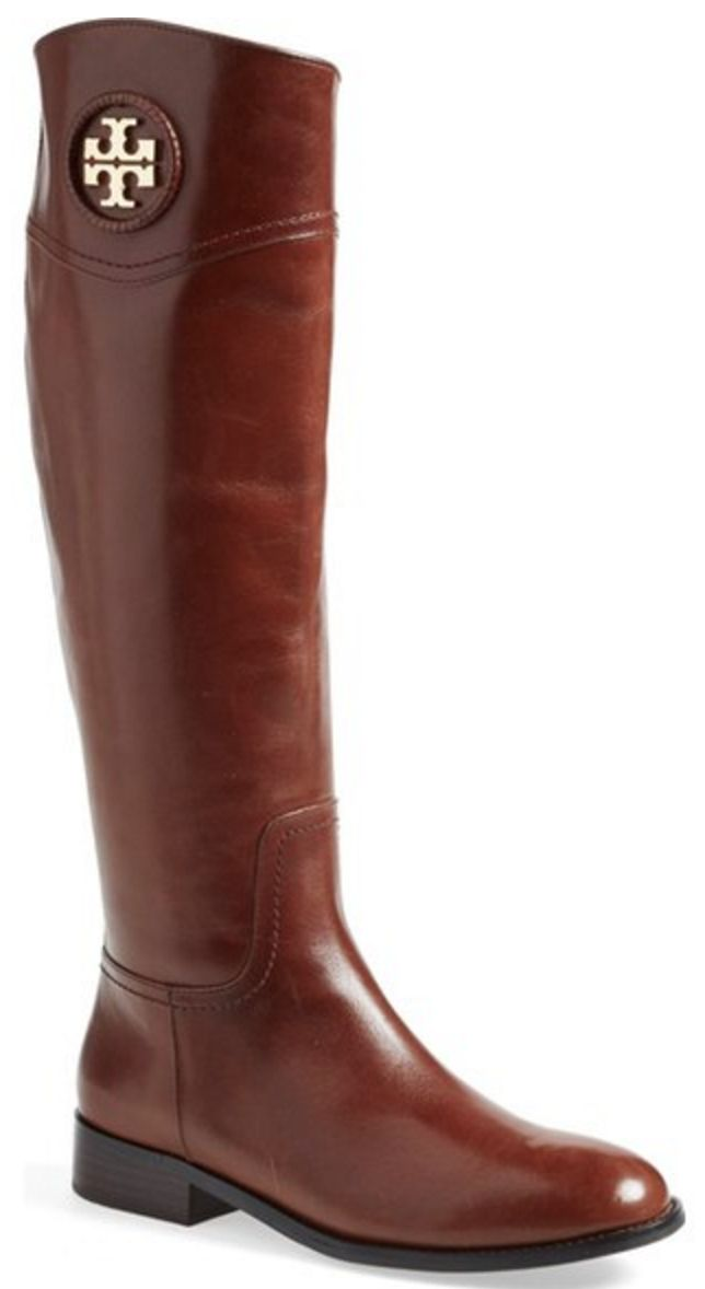 Tory Burch, brown leather, riding boots