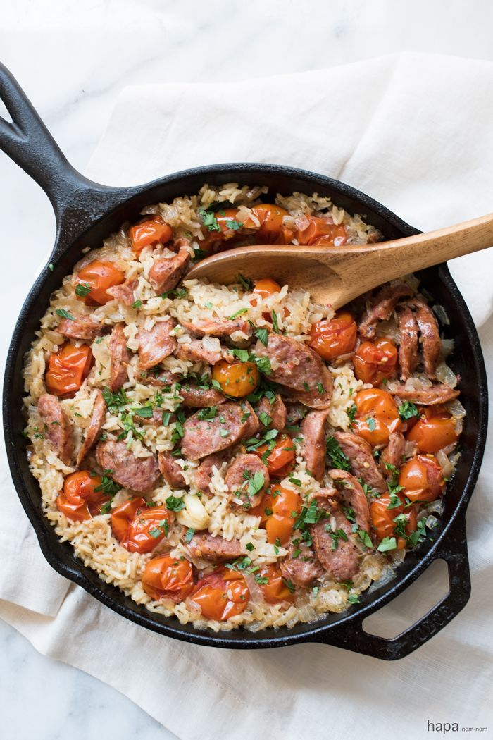 One skillet, 30 minutes, easy clean-up, and delicious - what could be better than this Easy One Pot Sausage and Rice?!