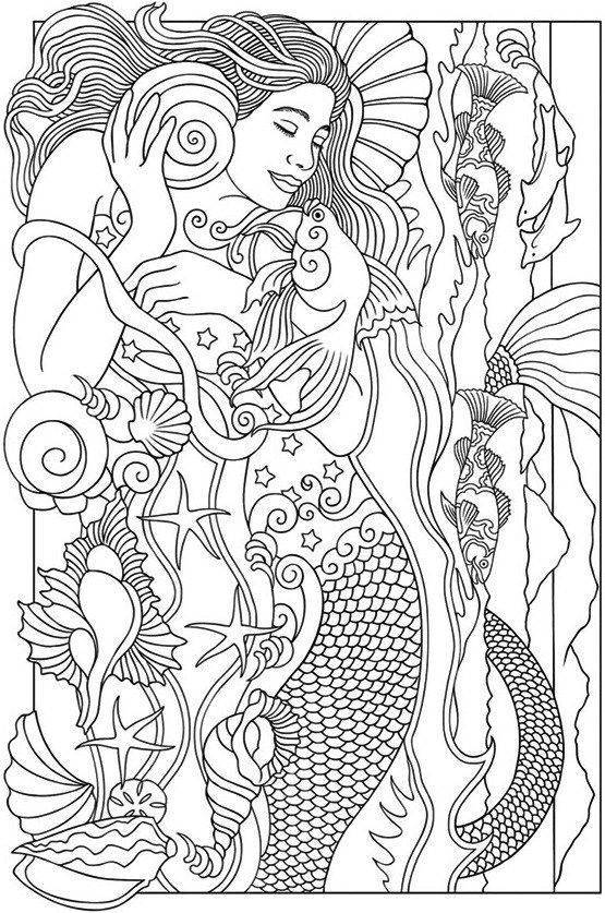De 25 mest popul re id er om realistic mermaid p for Realistic mermaid coloring pages