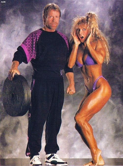 Chuck Norris with eight time Ms. Olympia Cory Everson.
